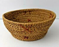 "VINTAGE 7"" NATIVE PAPAGO PIMA INDIAN HAND WOVEN BASKET BOWL with X design"