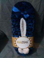 FRALOSHA Womens Slippers Sock Blue Leopard Velvet Super Soft fleece NEW sz 8 / 9