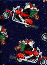 """Motorcycle Santa 4 Pieces 12"""" X 12"""" Or 1 piece of 12"""" by Wof Cotton Fabric"""