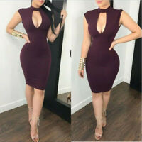 US Hollow Sleeveless Cocktail Lace Party Evening Bodycon Short Sexy Dress Women