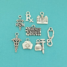 Nurse Charm Collection Antique Silver Tone 8 Different Charms - COL012