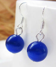 Natural 12mm Blue Sapphire Round Beads 925 Silver Dangle Earring PE254