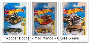 Hot Wheels - Rodger Dodger - Mad Manga - Cruise Bruiser - (3) Art Cars 1 Lot
