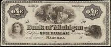 1860s $1 DOLLAR BILL MARSHALL MICHIGAN PUPPY DOG BANK NOTE PAPER MONEY CURRENCY