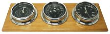 Prestige Barometer, Roman Clock and Tide Clock in Chrome, Mounted on Oak