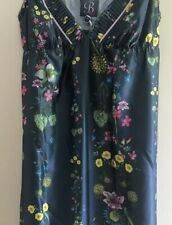 B By Ted Baker New Dark Green Unity Floral  Satin Chemise Size 10