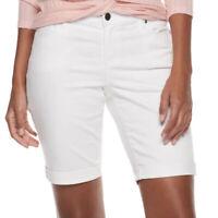 Juicy Couture Womens White Midrise Bermuda Jean Shorts 5 pocket Summer Sz 16 NWT