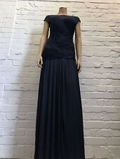 Halston Heritage Blue Maxi Length Ruched Evening Gown