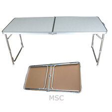 4 Foot Aluminum Folding Portable Camping Picnic Party Dining Table White