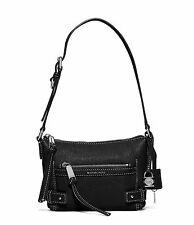 Michael Kors Abby Abbey Small Goat Leather Shoulder Bag (Black)