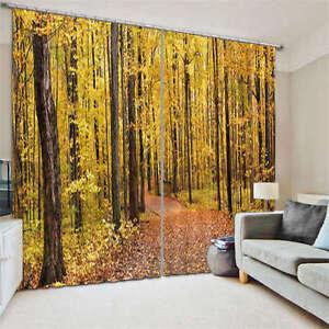 Slight Yellow Ginkgo Leaf 3D Curtain Blockout Photo Print Curtains Fabric Window
