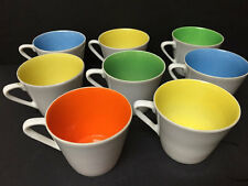 Set of 8 Mid-century Modern Porcelain Tea Cups multicolored interior gold number