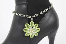 Fun Women Boot Bracelet Silver Metal Chain Shoe Charm Bling Green Flower Jewelry
