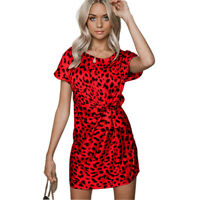 Popular Women' s Mini Shift Sundress Floral  With Floral Knotted Leopard Dress