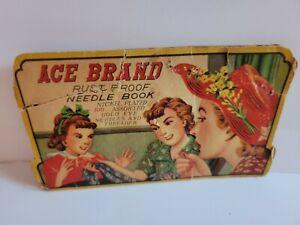 "Antique ""Ace Brand"" Nickel Plated Needles"" Cardboard Advertising Needle Holder"