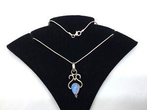 Vintage Ornate Sterling Silver Moonstone Pendant Necklace