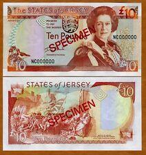 Jersey, SPECIMEN, 10 pounds, ND (2000), QEII, P-28s, UNC