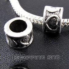 50pcs Tibetan Silver Tone Spacer Beads Fit European Charms Bracelet  Hearts DIY