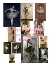 Old VINTAGE Antique BALLERINA COLLAGE Sheet ATC ACEO