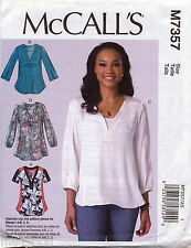 MCCALL'S SEWING PATTERN 7357 MISSES 14-22 LOOSE-FITTING PULLOVER TOPS & TUNICS