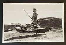 Mint Vintage Greenland Young Seal Hunter Kayak Illustrated Picture Postcard
