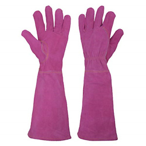 Small, Maroon Thorn Proof Goatskin Leather Gardening Gloves with Long Cowhide Gauntlet to Protect Your Arms Until The Elbow Rose Pruning Gloves for Men and Women
