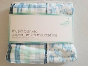 Aden & Anais Blanket, 4 Layer Cotton Muslin, Retro Plaid/stars, winter, Boy. New