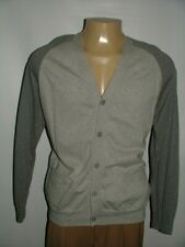 NEW WT FIVE FOUR  CARDIGAN SWEATER SIZE L 100% COTTON GRAY SOLID #140