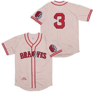 Kooy Babe Ruth #3 Boston Braves Baseball Jersey Men Throwback