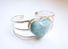 Sterling Silver Blue Larimar Heart 3-line Flexible Cuff Bracelet