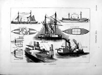 Old Antique Print 1877 Deck Plans H.M.S Inflexible Ship War Battery Stern 19th