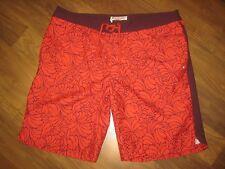 Nice Mens 36 Munsingwear PENGUIN Red Burgundy LONG BOARD Swim suit trunks shorts