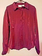 Christie & Jill Womens Blouse Size 16 Button Front Long Sleeve Red