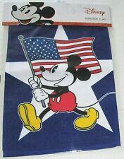 "DISNEY PATRIOTIC GARDEN FLAG 12.5""x 18""  MICKEY MOUSE WAVING AN AMERICAN FLAG"