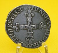 1/4 ECU, HENRY III of France, 1580, SILVER coin, 28.2 mm