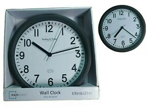 MAINSTAYS BLACK CLASSIC QUARTZ ROUND HOME KITCHEN WALL CLOCK