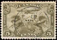 Canada Used 5c VF Scott #C1 1928 Air Mail Stamp