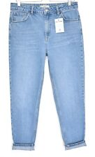 Topshop MOM High Waisted BLUE Tapered Crop Jeans Size 14 W32 L32