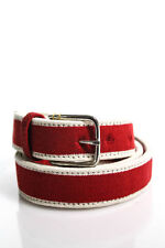 ALEXANDER OLCH Mens Red White Canvas Striped Skinny Buckle Belt Size 2 New 75472