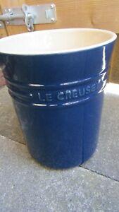 Large Le Creuset Blue Utensil Jar Pot Holder - no damage