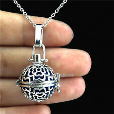 V169 Silver Flower Real Pearl Cage Rose Locket Necklace Stainless Steel Chain