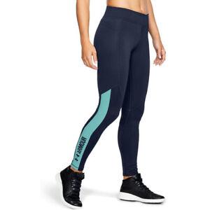 Under Armour UA ColdGear Ladies Graphic Dark Navy Sports Running Leggings S