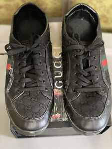 Gucci Black Low Sneakers Red Green Stripe size 11