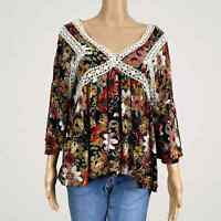 UMGEE Colorful Floral Peasant Lace Crochet Shirt Top SMALL Loose Fit Bell Sleeve