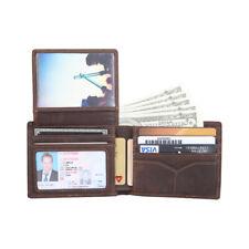 Homens Rfid Carteira de couro real com dobra dupla Bolsa foto Clipe de Dinheiro Cartão De Crédito Suporte de ID
