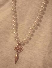 Delightful Creamy White SImulated Pearl Open Swooped Goldtone Pendant Necklace