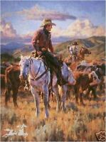 Cache Valley Round Up A Jason Rich Western Cowboy S/N Limited Edition  Art Print