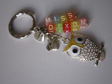 Keyring / Bag Charm - Personalised Yellow Filigree  Owl / Teacher Gift