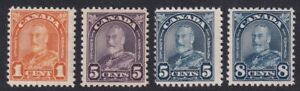 CANADA 1930 MINT LOT 4 NH STAMPS #162 + 169/172, KING GEORGE V ARCH/LEAF !! T6