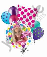 7 pc Barbie Sparkles Happy Birthday Balloon Bouquet Party Decoration Mattel Doll